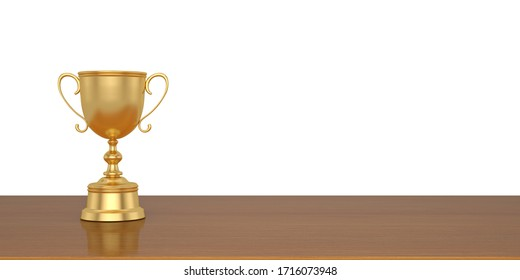 Gold trophy with wooden board isolated on white background. 3D illustration.