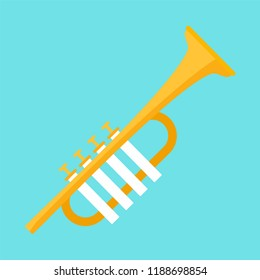 Gold trumpet icon. Flat illustration of gold trumpet icon for web design