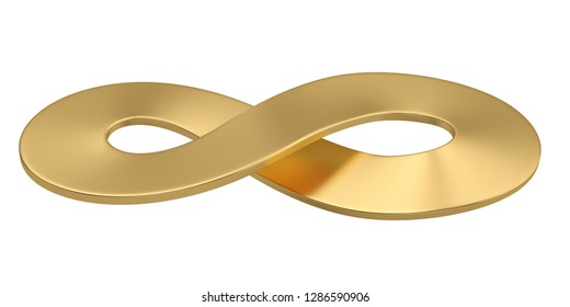 Gold unlimited symbol isolated on white background. 3D illustration.