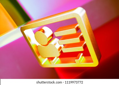 Gold Vcard Icon on the Candy and Yellow Background. 3D Illustration of Gold v Card, v Card, Vcard, Vcard File, Vcard File Icon Set With Geometric Boxes on the Candy Background.