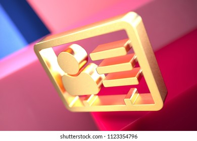 Gold Vcard Icon on the Pink and Blue Geometric Background. 3D Illustration of Gold v Card, v Card, Vcard, Vcard File, Vcard File Icon Set With Color Boxes on the Pink Background.