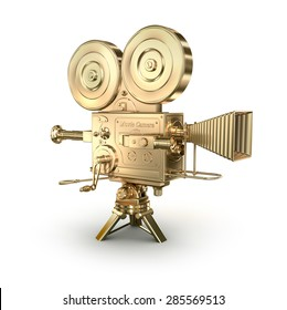 Gold video camera on a white background
