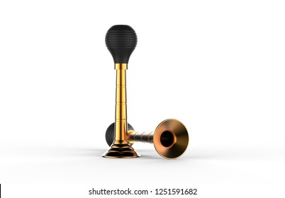 gold vintage bicycle air horn mock up template isolated on white background 3d illustration
