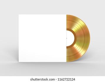 Gold Vinyl Record In Paper Case. 3D Illustration.
