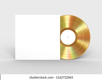 Gold Vinyl Record And White Paper Case. 3D Illustration.