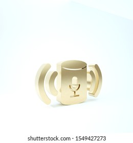 Gold Voice assistant icon isolated on white background. Voice control user interface smart speaker. 3d illustration 3D render