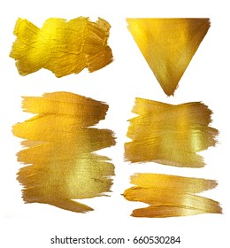 Gold Watercolor Texture Paint Stain Abstract Illustration. Shining Brush Stroke Set for you Amazing Design Project.