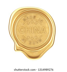 Gold Wax Seal with Made In China Sign on a white background. 3d Rendering