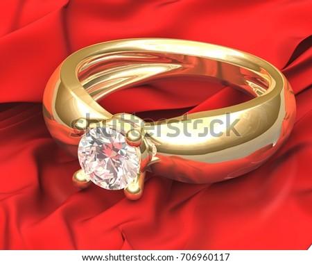 Gold Wedding Ring Diamond On Red Stock Illustration 706960117