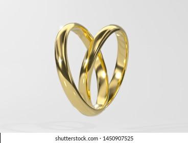 Gold wedding ring in heart sharp on light grey background (3d render)