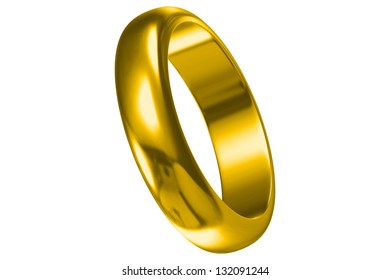gold wedding ring isolated on white background