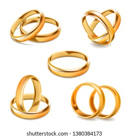 Gold wedding rings pair  3D realistic icons set