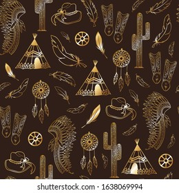 Gold western style elements seamless pattern background texture