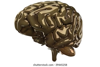 gold with white background brain