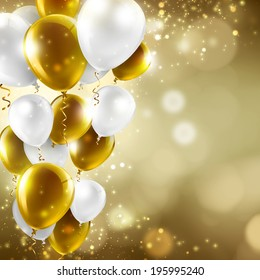 gold and white balloons on abstract blurred lights - festive background