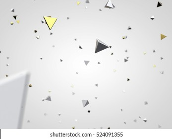 Gold and white pyramid macro particles. Isolated on white background. Futuristic background. 3d rendering