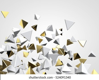 Gold and white pyramid on white background. 3d rendering. Futuristic background
