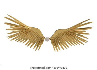 Gold wings on white background.3D illustration.