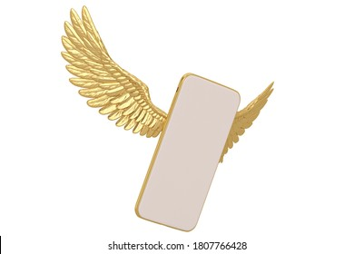 Gold wings with smart phone Isolated On White Background, 3D render. 3D illustration.