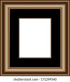 Gold Wooden Frame Black Mat Proportioned Stock Illustration