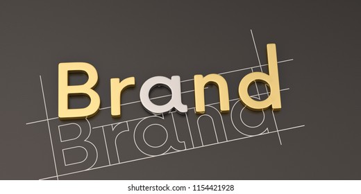 Gold word brand on black background brand concept design 3D illustration.