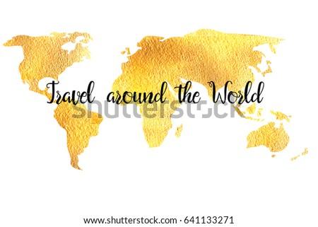 Gold World Map Label Travel Around Stock Illustration 641133271