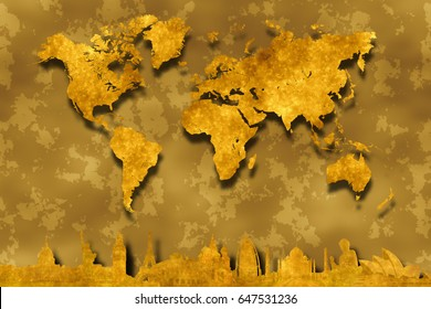 gold world map on abstract golden background with golden silhouettes of famous world landmarks from Washington, New York, London, Paris, Rome, Moscow, Dubai, Agra, Honk Kong and Sydney at the bottom