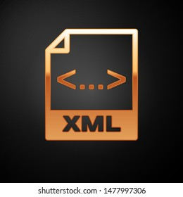 Gold XML file document icon. Download xml button icon isolated on black background. XML file symbol