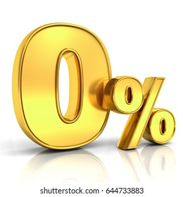 Gold zero percent or 0 % isolated over white background with shadow and reflection. 3D rendering.
