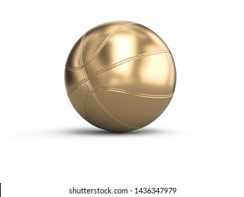gold-colored basketball on a white background. 3d image render