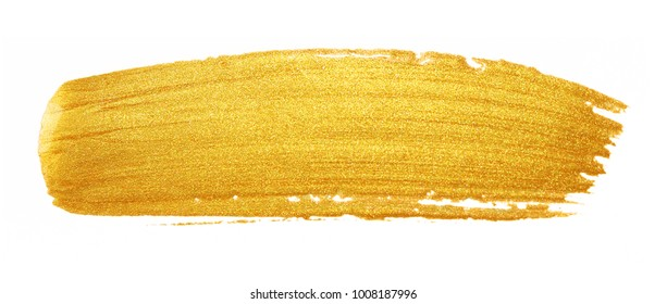 Golded paint brush stroke. Glitter gold color smear stain on white background. Gold stroke banner with glossy texture for banner, invitation, wedding or bithday card template