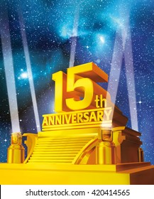Golden 15th anniversary on a platform