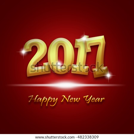golden 2017 happy new year sweet greeting card on red background