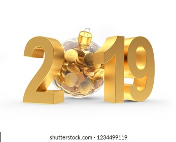 Golden 2019 New Year with transparent Christmas ball full of coins isolated on white background. 3D illustration