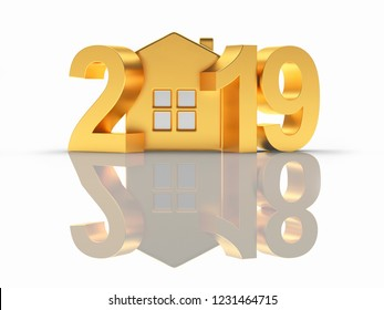 Golden 2019 numbers New Year with house icon and reflection 2018 on white background. 3D illustration