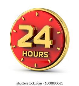 Golden 24 hours on red background. 24 hrs gold. 3d illustration.
