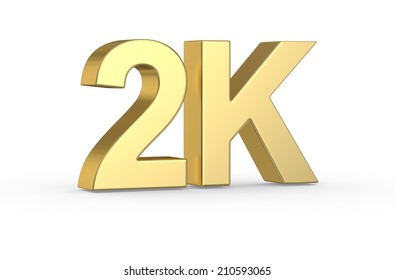 Golden 3D 2K symbol isolated with clipping path