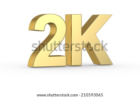 Golden 3 D 2 K Symbol Isolated Clipping Stock Illustration 210593065