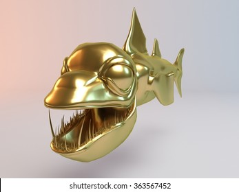 Golden 3D animal (fish with lamp, Piranha ) inside a stage with high render quality to be used as a logo,   medal, symbol, shape, emblem, icon, business, geometric, label or any other use