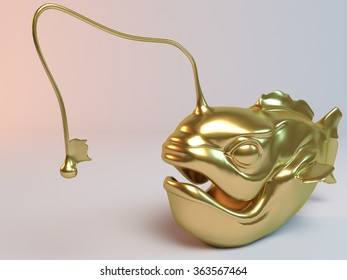 Golden 3D animal (fish with lamp) inside a stage with high render quality to be used as a logo,   medal, symbol, shape, emblem, icon, business, geometric, label or any other use