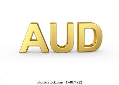 Golden 3D AUD currency shortcut isolated with clipping path