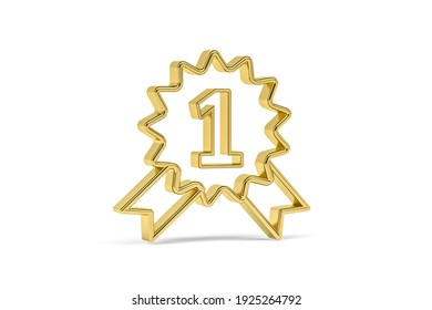 Golden 3d first prize icon isolated on white background - 3D render