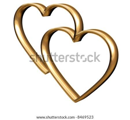 Golden 3 D Hearts Symbol Everlasting Love Stock Illustration 8469523