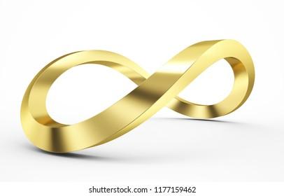 golden 3d infinity icon 3d rendering