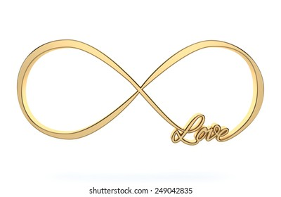 Golden 3d Infinity love, forever symbol isolated on white