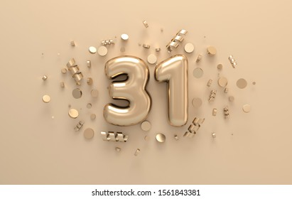 Golden 3d number 31 with festive confetti and spiral ribbons. Poster template for celebrating 31 anniversary event party. 3d render