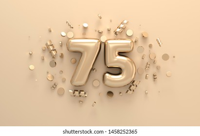 Golden 3d number 75 with festive confetti and spiral ribbons. Poster template for celebrating anniversary event party. 3d render