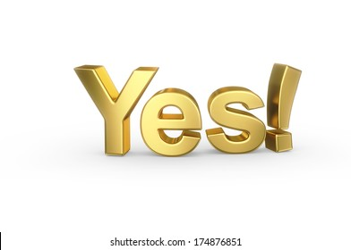 Golden 3D YES type isolated with clipping path