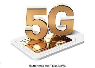 Golden 5G sign on sim card isolated on white background. High speed mobile web technology. 3D rendering