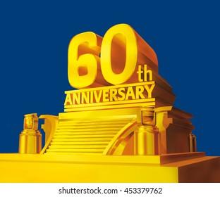 Golden 60th anniversary on a platform